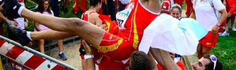 Iván Alonso celebrando el título en el pasado mundial
