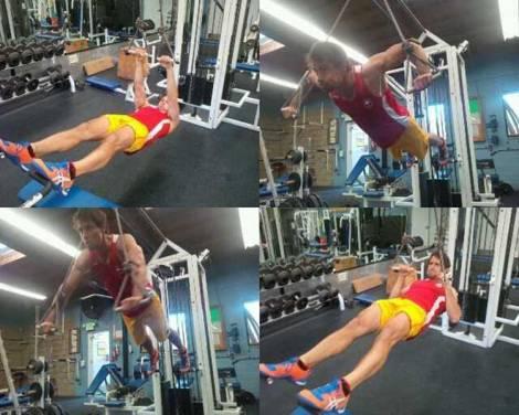 Adam Van Koeverden realizando ejercicios de entrenamiento en suspensión